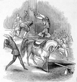 Foreign Acrobats vaulting over a horse, 1849